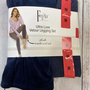 Felina Ultra Luxe Velour Legging Set Blue Lounge